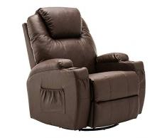 MCombo Poltrona da massaggio Poltrona TV Poltrona relax Marrone con riscaldamento Altalena basculante