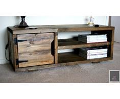 KRUD K23~ Mobile per TV in legno massiccio, 120 cm, stile ponteggio, industriale, Chunky~Rustic, Country