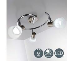 Lampada da soffitto a LED con 3 luci orientabili, forma a spirale, per soggiorno o camera da letto, incl. 3 lampadine 5 W E14 230 V IP20