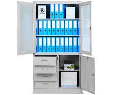 Armadio per ufficio C042, Armadio per documenti con vetrina, Armadio in metallo con cassetti, mensole, lamiera d'acciaio (grigio/grigio)
