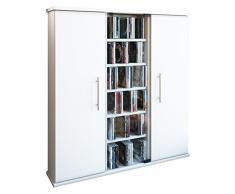 VCM 45024 Santo Scaffale per 450 CD/Dvd, Legno Bianco, 91,5 x 86 x 18 cm