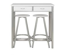 ts-ideen Set 3 pezzi Tavolo e 2 sgabelli in Alluminio e MDF color Bianco per Cucina o Sala da Pranzo