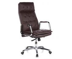 hjh OFFICE 600924 Sedia da ufficio/Sedia presidenziale VILLA 20 nappa marrone, schienale alto, poggiatesta integrato, elegante, braccioli con cuscinetti in pelle rimovibili, sedia da scrivania ergonomica, robusta, meccanismo sincronizzato