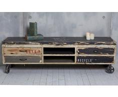 """TV-mobile su ruote in """"Used-Look"""" in legno massiccio di mango legno credenza comò TV-Möbel"""