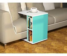 CEYLIN Tavolino basso da salotto con ruote - Bianco / Turchese - materiale in legno - Tavolino da divano - Tavolino da Caffè moderno in un design alla moda con mensola