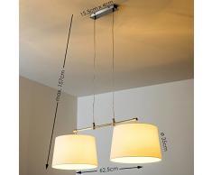 Lampada a Sospensione Ideale per Sala da Pranzo- Lampadario Design Moderno Elegante per Salotto- Lampada a Sospensione Paralumi Tessuto per Cucina