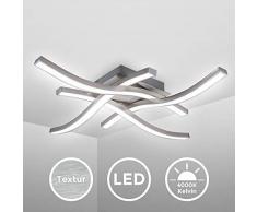 B.K.Licht Plafoniera LED, luce bianca neutra 4000K, LED integrati 20W 2.000Lm, dimensione 42,5x42,5x7cm, lampada da soffitto per salotto o cucina, lampadario in metallo color alluminio 230V IP20