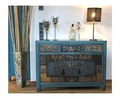 OPIUM OUTLET Cina, credenza asiatica vintage, comò stile antico, credenza, buffet, in legno blu
