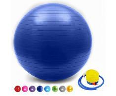 SONGHUI Ball Chair, Yoga Pilates Balance Ball con Pompa Palla da Gravidanza Il Parto Ginnastica maternità Travaglio e Yoga-profondo blu,35cm