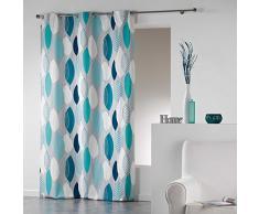 Coton d'Interieur tenda a occhielli in cotone, Cotone, blu, 280x140 cm