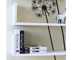 SET 3 MENSOLE Libreria DESIGN a Parete Legno BIANCO Liscio BOOKSHELF 3BI MDF