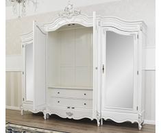Simone Guarracino Armadio Julian Stile Barocco Moderno Bianco Laccato e Foglia Argento 4 Porte 4 specchi 2 cassetti