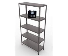 GRIMA Componibili Scaffale Metallo 5 ripiani - 100x40x187h (130KG ciascuno, totale 650KG) Scaffali in metallico, scaffalature metalliche, acciaio per garage, cucina, libreria, ufficio (Grigio Scuro)