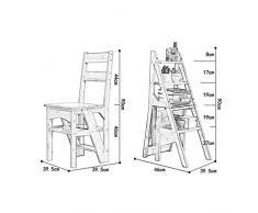 Sedie per cucina e sala da pranzo | Mensola pieghevole | Sgabello 4 Step in legno per adulto | Mensola di esposizione Supporto per vasca da bagno