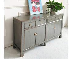 OPIUM OUTLET - Comò cinese, credenza, stile coloniale vintage, grigio, stile shabby chic (grigio chiaro)