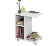 SoBuy® FBT48-W,Tavolino Consolle su rotelle,Tavolino da divano,bianco,IT
