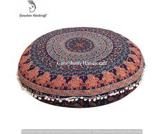 Ganesham artigianato throw Handmade copertura del cuscino, cuscino rotondo mandala boho Decor, hippie mandala indiano arazzo, rotondo Seating pouf ottomano cuscino da pavimento, mandala, indiano cuscino 32 x 32