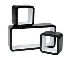 WOLTU RG9248ws Mensole da Muro Mensola a Cubo Quadrato Scaffale a Parete Libreria CD/DVD Decorazione per Cameretta Ufficio MDF 3 Pezzi Diametri Diversi Bianco-Nero
