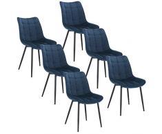WOLTU BH142bl-6 Sedie Sala da Pranzo Design retrò Sgabello Imbottito con Rivestimento in Velluto Blu 6 Pezzi