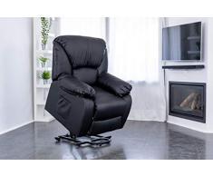 ECODE Poltrona Massaggiante Relax Con Alzapersona Chamonix, Reclinazione elettrica 160º, Funzione Calore, Programmi Auto, Vibro Ondulazione, A++, ECO-8590UP N (Nero)