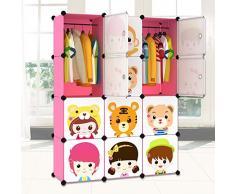 Facile plastica guardaroba facile combinazione di resina verde DIY guardaroba armadio armadio per bambini