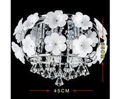 Lonfenner Lampada lampadario di cristallo di europeo-stile lampadario di cristallo petali creativo luci giardino soggiorno, lampadario di cristallo petali romantica camera da letto (45cm)