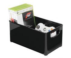 mDesign Scatola portaoggetti trasportabile - Contenitori in plastica per Videogiochi con Manici integrati - Ideale Come Porta CD e Dvd - Nero