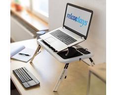 Relaxdays Tavolino Porta Notebook con 2 Ventilatori USB, HBT 30 X 56.5 X 30 cm, Ripiegabile e Regolabile in Altezza, Bianco e Nero