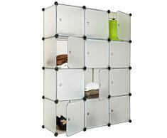 TecTake Scaffale armadietto modulare mobile scaffalatura mensola per scarpe bagno sistema di plug-in cuba bianco