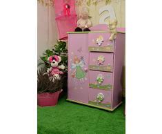 Piccolo armadio con cassetti per cameretta da bambina, a tema fiori e fatine
