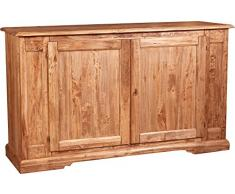Credenza Country in legno massello di tiglio finitura naturale 180x58x105 cm