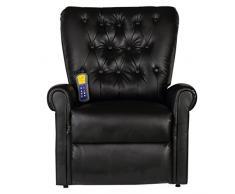 Festnight - Poltrona di Massaggio massaggiante elettrica reclinabile in Ecopelle (Nero)