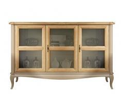 Credenza bassa classica con 3 porte in vetro, credenza 141 x 47 x H 90 cm in legno direttamente dal produttore artigiano, credenza in stile classico consegnata montata, credenzina con vetri.