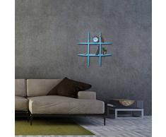 Relaxdays 10021903_45 Mensola da Parete 6 Scomparti, Forma Rotonda, profondità 17 cm, Porta-CD, Pensile, Blu