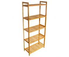 Wolketon - Scaffale in bambù a 5 ripiani, per bagno, cucina, corridoio, sauna