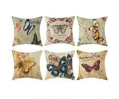 Top Finel Federe cuscini con stampa colorata per decorare letti e divani, in cotone e lino 6 pezzi dimensioni 45X45CM Farfalla