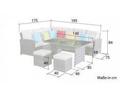 Set di mobili da giardino La Palma in colore naturale (divano angolare con tavolo da pranzo), in polirattan, di Jet-Line, con tavolo e sgabello