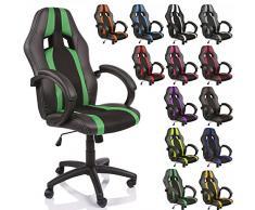 TRESKO® Poltrona Sedia direzionale da ufficio Racer classe di lusso - disponibile in diversi colori (nero/verde)