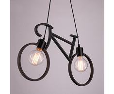 E27 lampada a sospensione moderna lampada a sospensione lampada a soffitto lampada a sospensione lampadario minimalista ferro bicicletta lampada a sospensione per soggiorno camera da letto ristorante (lampadina senza inchiostro (nero)
