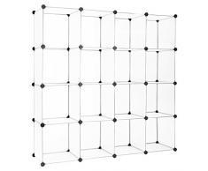 Finether Portascarpa Scarpiera Scaffale di Scarpa a cubo, Bianco (16 Cube)