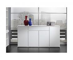 Arosio Bernardel - Madia a 4 ante con cassetto centrale laccata bianco neve. VERO LEGNO, cm 205 x 41 x h 106, Ciliegio