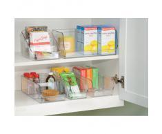 iDesign Organizer cucina con manico, Piccolo contenitore cucina in plastica con 2 scomparti, Scatola cucina senza coperchio ideale per cassetti e dispensa, trasparente