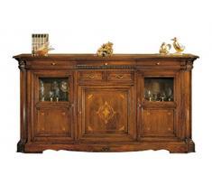 Credenzone classico intarsiato 220 x 55 x H 115 cm, grande credenza in stile classico con intarsi e intagli, completamente in legno naturale, credenza classica artigianale fatta a mano