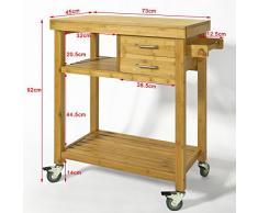SoBuy® Carrello di servizio, Carrelli per cucina ,mensola angolare,in Bambù, FKW26-N (L73*L45*A92cm). IT