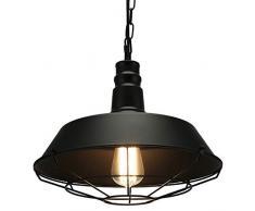 Lampop Lampada Vintage Lampada a Sospensione Industriale Lampadario Ferro E27 Edison LED Lampada da Soffitto per Cucina Ristorante Bar Soggiorno Nero (Senza lampadina)
