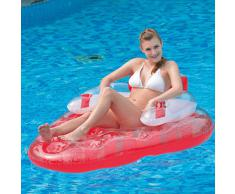 Jilong Strawberry Water Lounge-Poltrona Gonfiabile Galleggiante a Forma di Fragola 165x120 cm, Colore Rosso, 27206