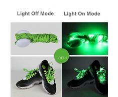 LED Lampeggiante Lacci delle Scarpe, KALA LED Shoestring Illuminano le Scarpe con 10 Lampade LED più Luminose, Nylon Lacci a LED in Multicolore Lacci Luminosi per Partito di Hip-hop Danza(Verde)