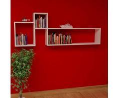POLITE Mensola da muro - Bianco - Mensola Parete - Mensola Libreria - Scaffale pensile per studio / soggiorno in Design moderno