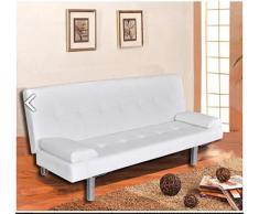 Divano letto moderno 3 posti ecopelle reclinabile bianco soggiorno sofa