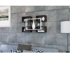 RACKY Mensola da muro - Mensola Parete - Mensola Libreria - Scaffale pensile per studio / soggiorno in un design moderno (Bianco / Nero)